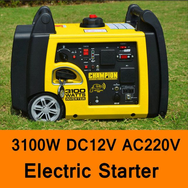 3100W DC 12V AC 220V Gasoline Inverter Generator Electric Starter Car Household Gasoline Generators Portable Quite Generator