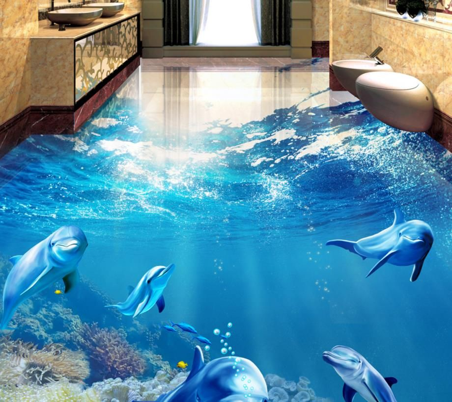 Custom 3d floor tiles modern 3d floor tropical fish dolphin self-adhesive waterproof floor wallpaper for walls 3 d