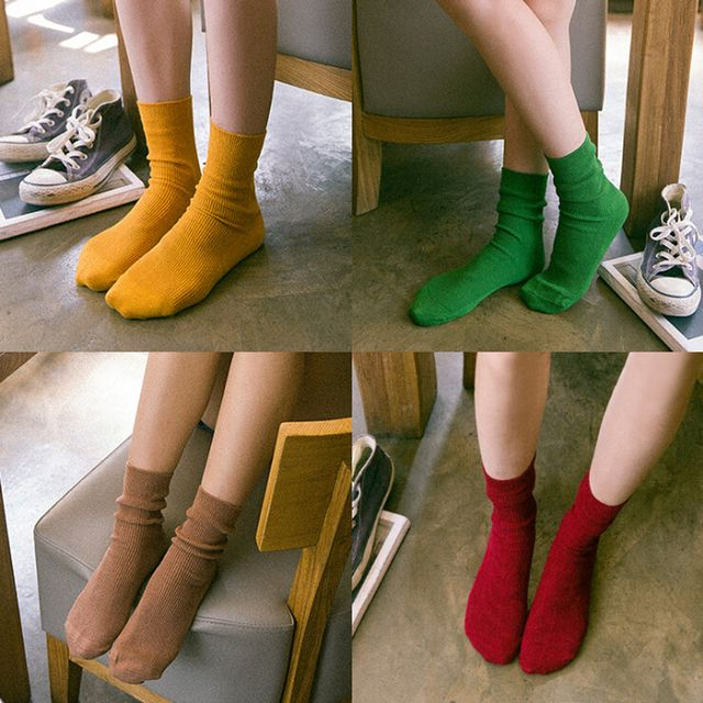 candy color women socks 2016 korean preppy style fashion 10 colors girls cotton socks autumn/winter green casual knitted socks