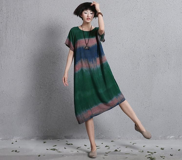 New summer short-sleeve hit the color gradient vintage dress for female Women's casual dresses vintage printing dresses 860552