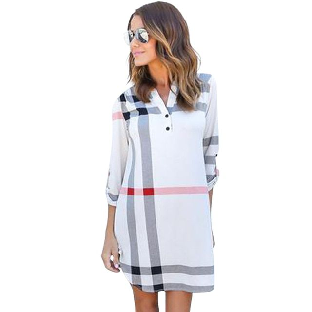 Women Casual Dress Long Robe Femme England Classical Plaid Printed Dress 2016 New Brand Autumn Loose Dress Office Dress LJ5569U