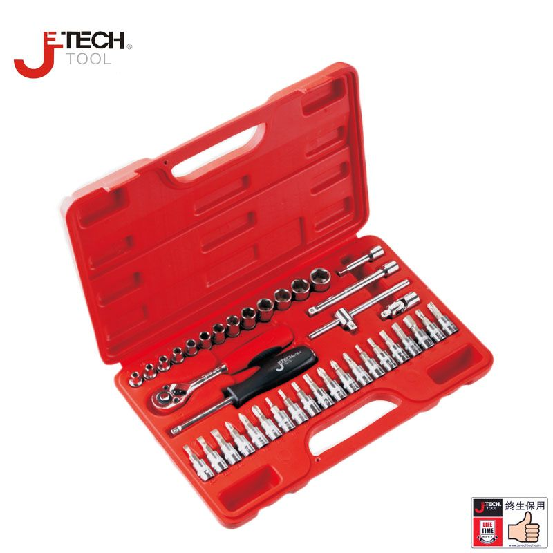 Jetech 39 in 1 1/4 DR metric torx socket wrench tool set kit car tools case box for auto repair opening tools lifetime guarantee