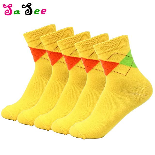 20 Pieces= 10 pairs/ Hot Sale New Design Women's Socks Quality Summer Winter Candy Colorful Rhombus Pattern Sock Free Shipping