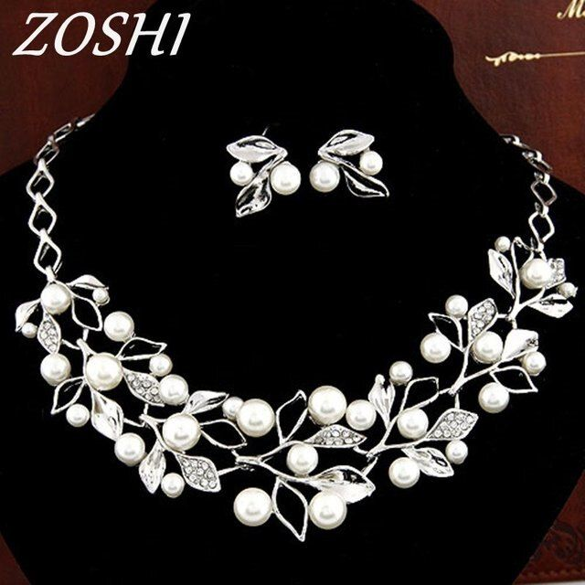 Fashion Jewelry Set Necklace Statement Earrings Women imitation pearl Jewelry Set For Women Wedding Gold/Silver Plated Jewelry
