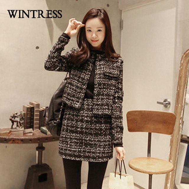 WINTRESS Korean 2 Piece Sets Women Button O-Neck Full Wool Coat Top Package Hip Skirt Winter Women Skirt Sets Clothes Wholesale