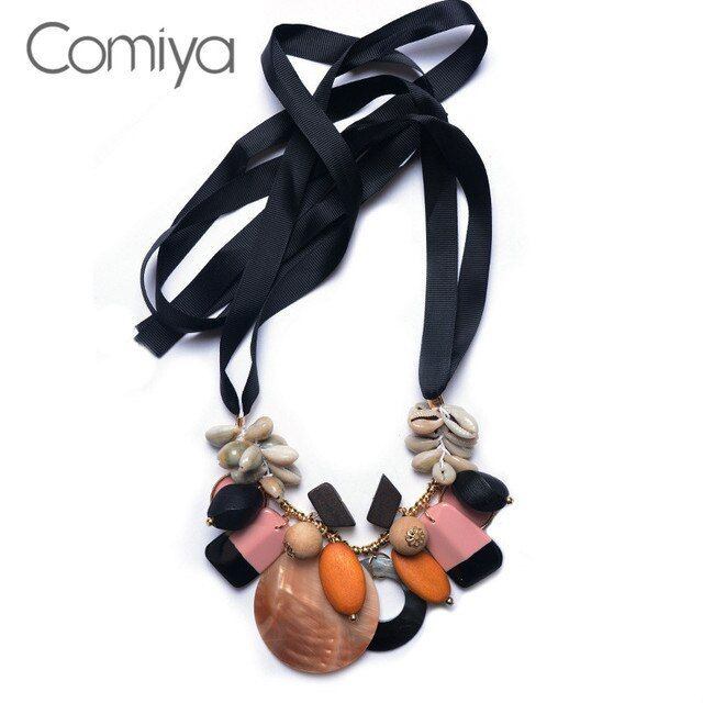 Comiya Hot Sale Seashell Handmade Long Necklaces For Women Ribbon Chains Collier Femme Statement Necklace Bijoux Accessories