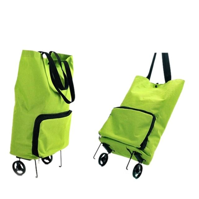 Folding Oxford Cloth Wheel Trolley Bag Green Mom Travel Shopping Bags Grocery Tote Handbag Quality