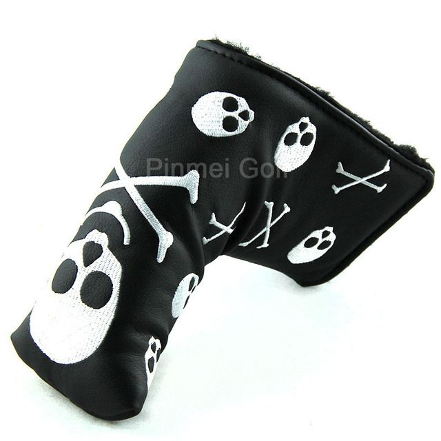 New Black Skull Putter Covers Headcover PU Leather Blade Club Head Protector