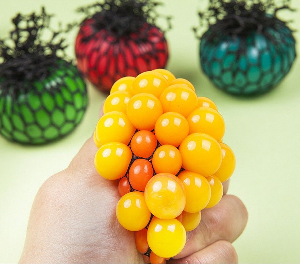 Novelty Anti Stress Face Reliever Grape Ball Autism Mood Squeeze Relief Healthy Toy 1pcs Random Color