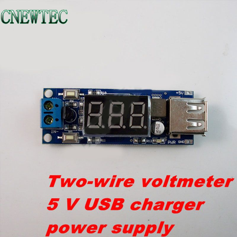 10PCS/LOT DC-DC Step down module Two-wire voltmeter + 5 V USB charger or power supply  input 4.5v-40v   output 5V/2A