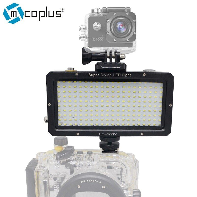 Mcoplus 160pcs Waterproof Underwater LED Video Photographic Lighting 30M 98ft for Sony Canon Nikon Camera GoPro SJCAM Sport DV