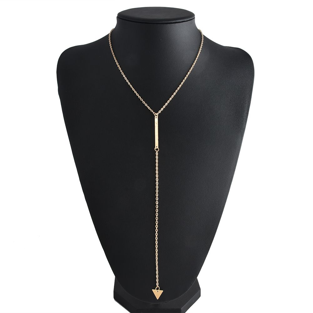 Fashion Trangle Pendant Long Chain Necklace Gold Color Pick Chain Choker Necklace Women Jewelry