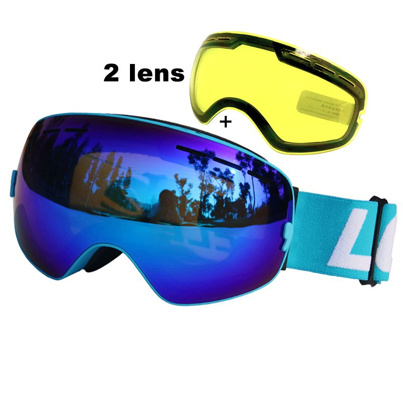 LOCLE Ski Goggles UV400 Anti-fog Ski Glasses Double Lens Snow Skiing Snowboard Goggles Ski Eyewear With Night Vision Lens