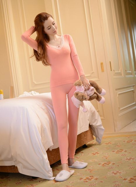 New spring winter women's slim casual Pyjamas suits / female warm v-neck long sleeve sleeo tops+johns pajama sets