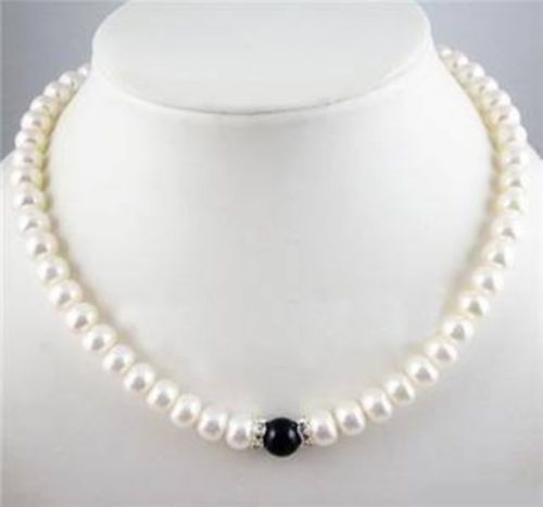 10X10  jewerly free shipping  charming 7-8mm White FW Pearl + Black fashion Necklace 18