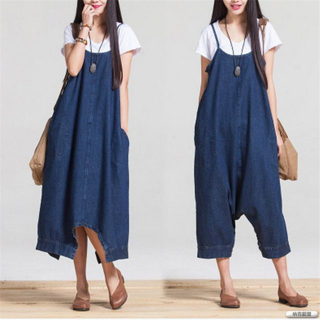 Johnature 2017 Spring And Summer Fashion Loose Big Yards Conjoined Denim Strap Casual Loose Waist Woman Pants Rompers