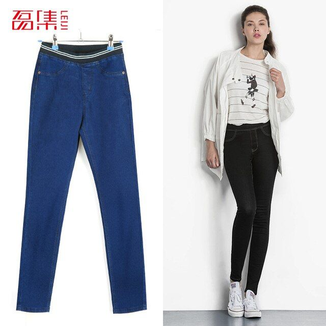 Leiji Fashion Autumn Leggings Blue S 6XL 2017 Woman Mid Waist Plus Size women High Elastic Full Length Pants Skinny pencil Jeans