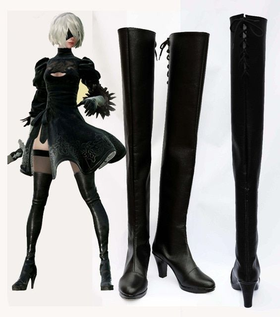 New Game NieR:Automata Cosplay YoRHa No. 2 Type B Shoes Black Shoes Boots For Adult Costume Custom Made European Size