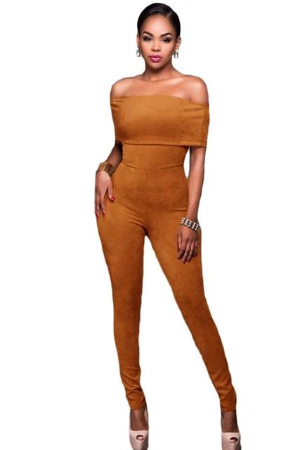 2017 Fashion Women Club Sexy Summer Bodycon Olive Green Mocha Faux Suede Off-the-shoulder Jumpsuit LC64198 Macacao Feminino