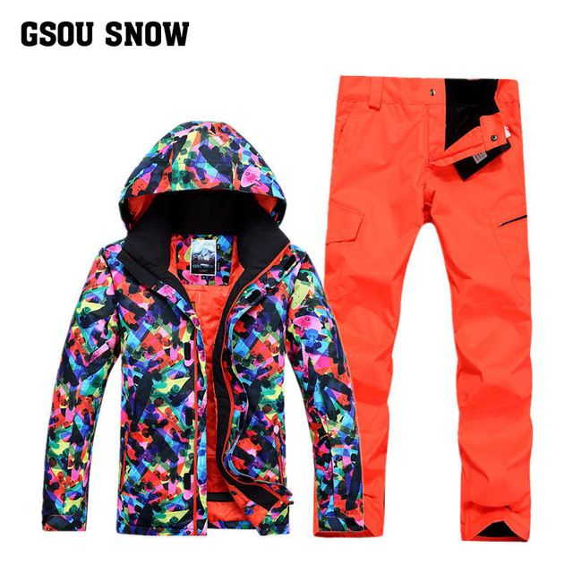 GSOU SNOW Men's Snowboard sports Ski suit Sets Ski Jacket+Ski Pants Outdoor Waterproof Windproof Warm Clothes -30 degree