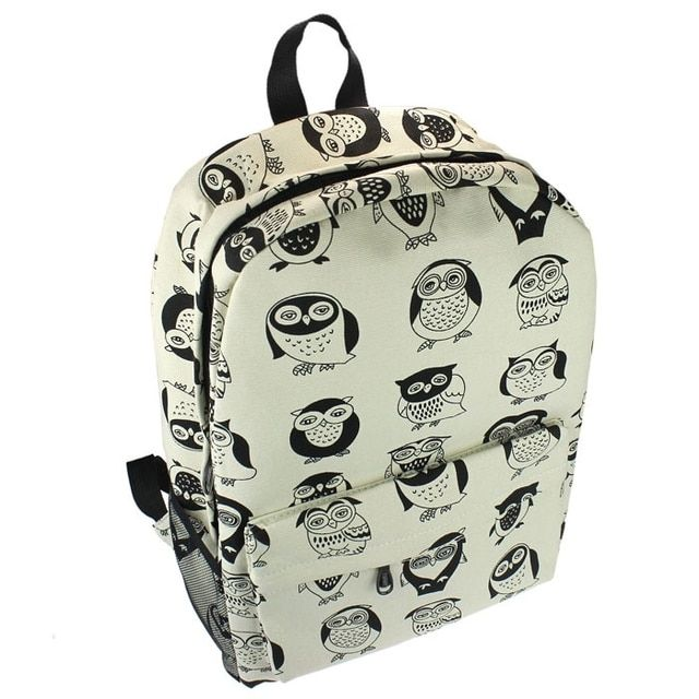 2017 Women Canvas Travel Satchel Shoulder Bag Backpack School Rucksack Owl