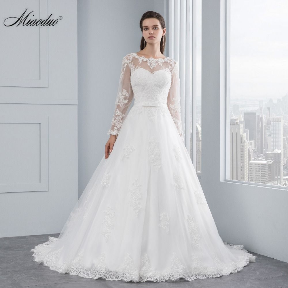 Miaoduo Long Sleeve Lace Appliques Low Back  A-line vestido de noiva Wedding Dresses vestido de noiva abito da sposa Custom made