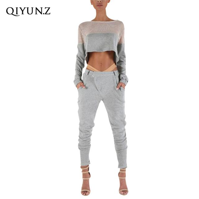 New Casual Women 2 Pcs Tracksuit Mesh Tops Trousers  Fitness Sweatshirt
