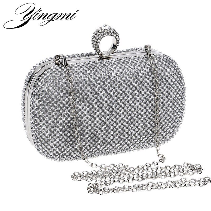 YINGMI Women Rhinestones Evening Bags Silver/Gold/Black Finger Ring Diamonds Chain Shoulder Day Clutch Small Purse Evening Bags