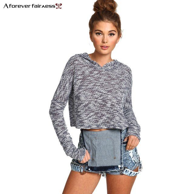 A Forever 2017 Harajuku Sweatshirt For Women Crop Tops Casual Knitted Hoodie Sweatshirts Slim Short Blusa Feminina Hoodie AFF383