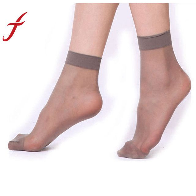 Feitong Superhot-(20PCS=10PAIRS=1 LOT )Crystal Silk Female Short Summer Sexy Ultra-thin Transparent Women Elastic Short Socks