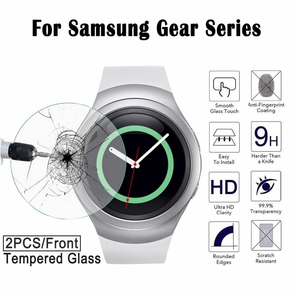 2pcs For Samsung Gear S2 Smart wristwatch Tempered Glass Screen Protector S 3 Film Glass For Samsung Gear 2 Neo R380 Sm-r380 S3