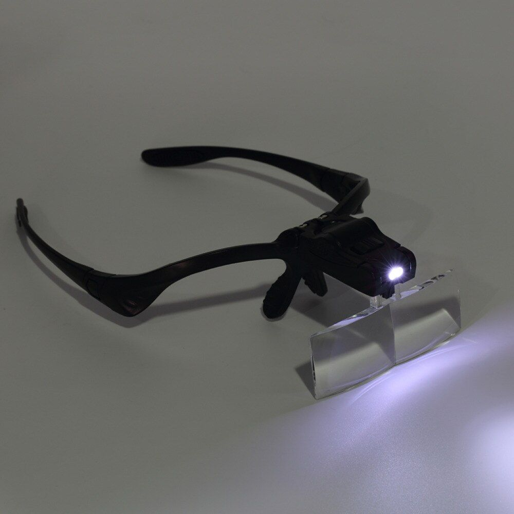 LED Magnifying Glass Eyewear Glasses Magnifier 3.5x Loupe Headband Lupas Big Vision Lamp Magnifiers for Repairing Watch Jewelry