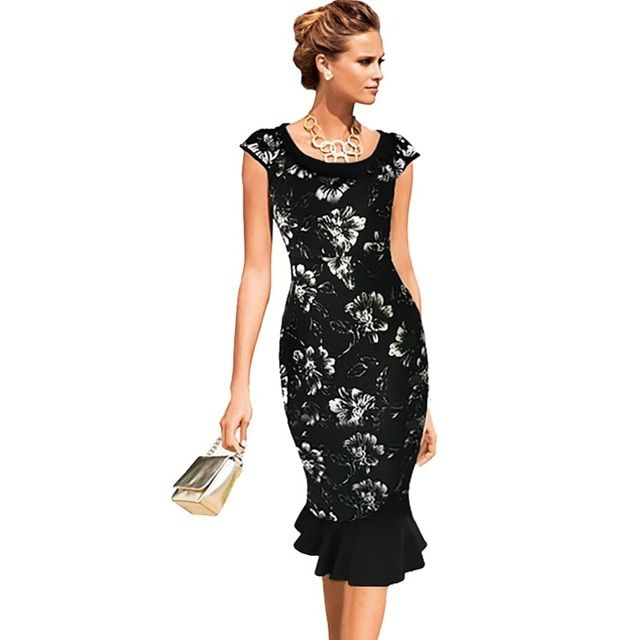 Oxiuly 2016 New Women Vintage Black Flower Slimming Stretchy Empire Waist Mermaid Party Dress