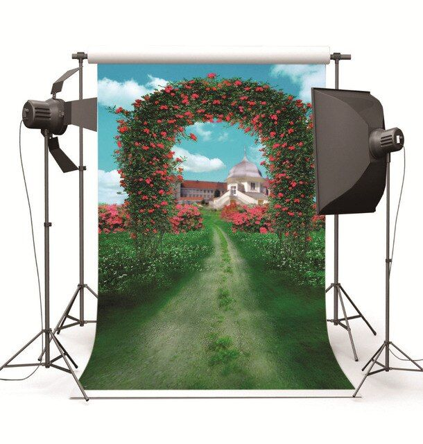 Photography Background for Baby Photo Studio Children Wedding Flowers Arch Door Castle Photographic Backdrop for Photo Shooting