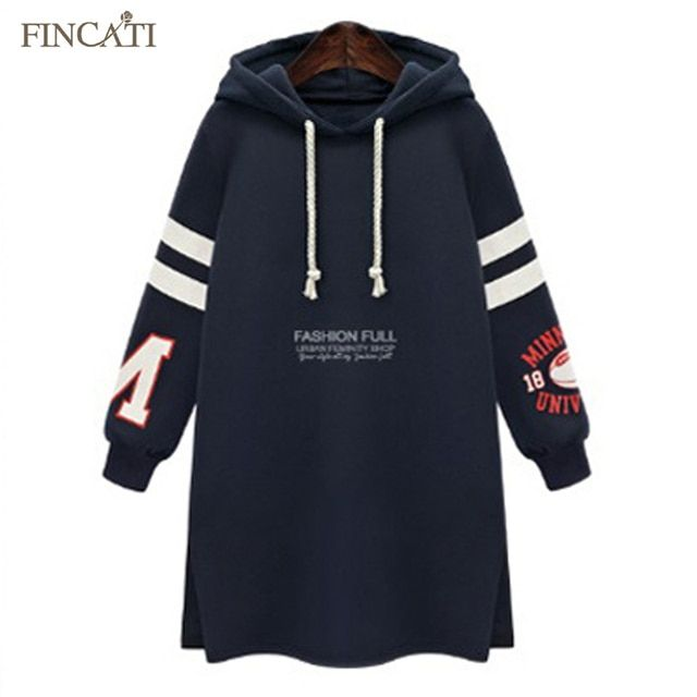 Latest O-Neck Collar Plus Velvet Thicken Hooded Letters Printed Loose Women Lady Sweatshirts Dress Hoodies Outwear Coat