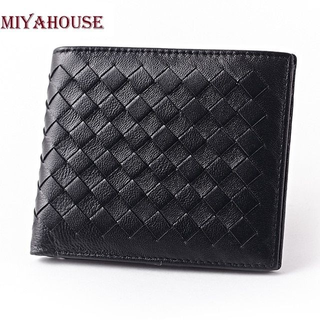 New Arrival Brand Weave Men Wallets Fashion Male Clutch Wallet Genuine Leather Men Long Purses Card Holder Purses Men Coin Purse