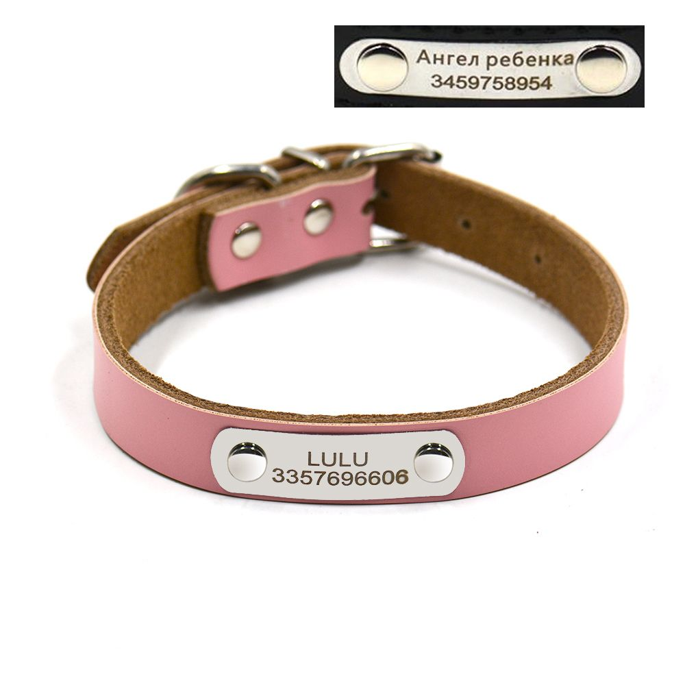 Free engraving dog ID collar name number Genuine leather tag collar small and large pet dog collars DIY personal collars supply