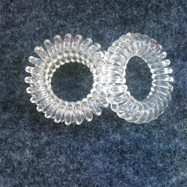 Wholesale Headwear,Hot Sale Hair Gum , Women's Rubber Band,Clear White Telephone  Wire Hair Ring,Transparent White  Hair Bands