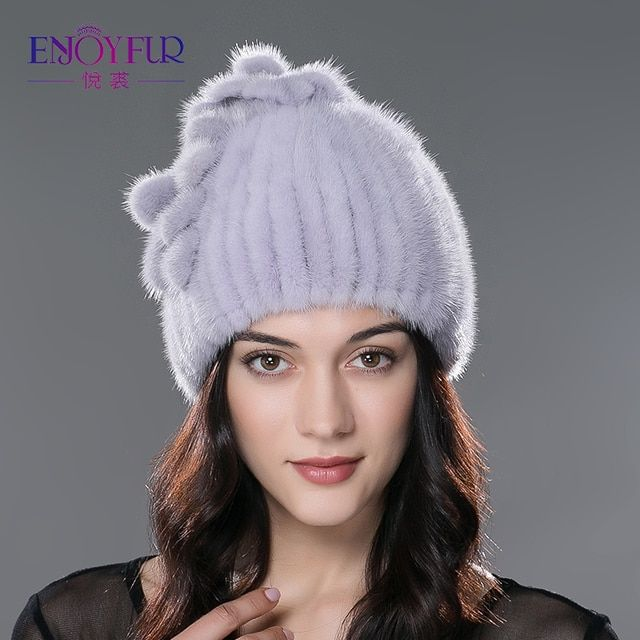 Winter women Mink fur Beanies Ear protect Warm hat Mink knitted fur Elegant flower shape cap 2016 New arrival Good quality hat