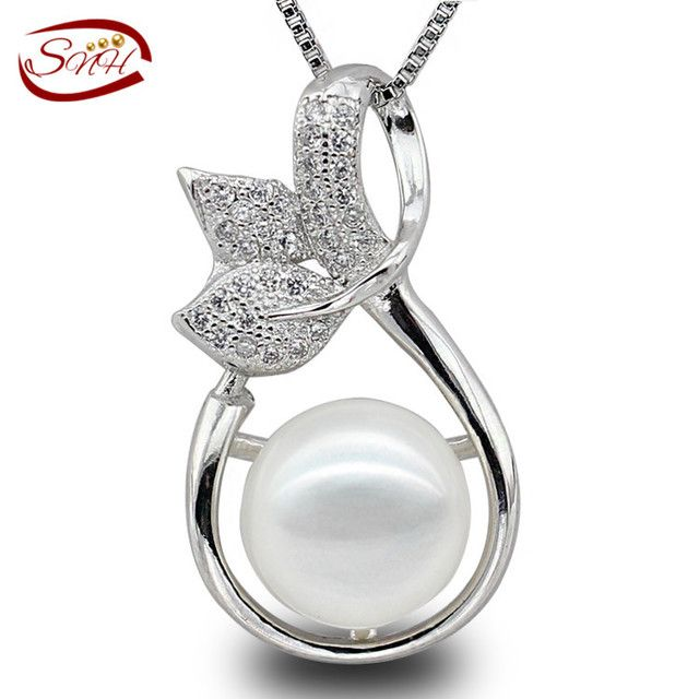 SNH 2017 Cultured Genuine pearl pendant Real 925 sterling silver freshwater pearl pendant for woman with free shipping cost