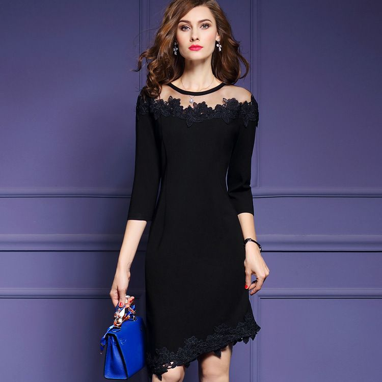 2017 New Spring Large Size Fashion Women Clothing Party Dresses Elegant National Wind Casual  Vestidos Black Sexy & Club