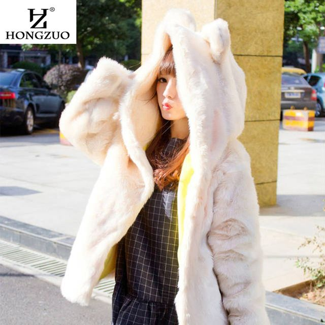 [HONGZUO] Korean Style 2017 Winter Warm Faux Fur Coat Hooded with Rabbit Ears White Causal Fur Jacket Parka PC047