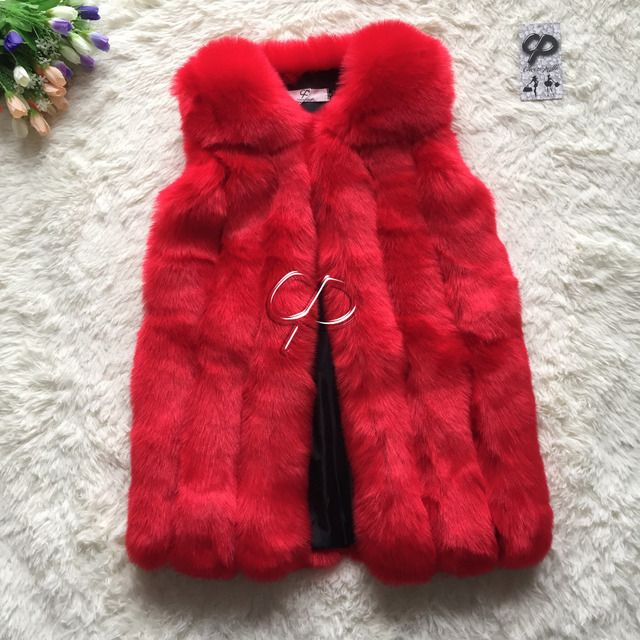 CP Brand Faux Fox Fur Vest Women Medium Long Luxury Fake Fur Vest Winter Fashion Furry Womens Fur Vest Plus Size High Quality