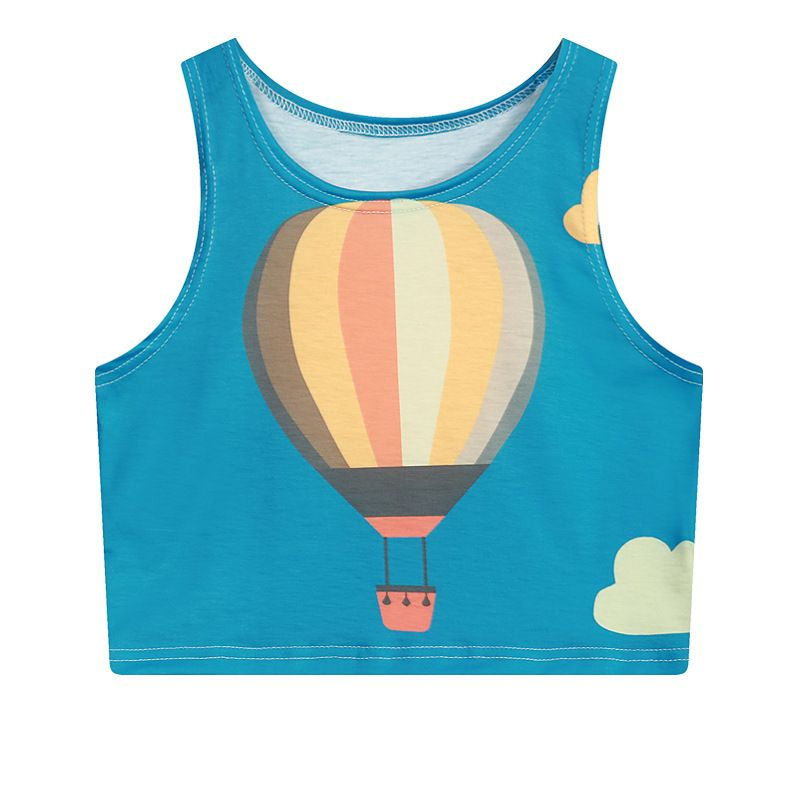 Rabbit Police Summer Harajuku sexy Women Sleeveless Cartoon air balloon Print Crop Top Women Bustier Cropped Tops Vest Tank Tops
