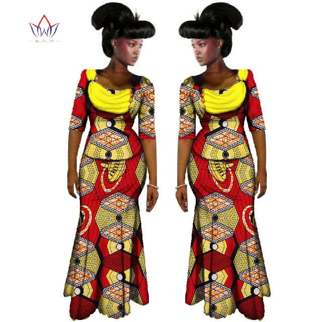 2018 African Women Clothing Brand African Vestido 6XL Wax Custom Clothing Women African 2 pieces for Women Skirt Set BRW WY587