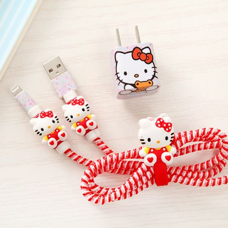 Diy Set Cartoon USB Data Line Cable Protector Set with Cable Winder stickers Spiral Cord protector For iphone 5 6 6s 7 8