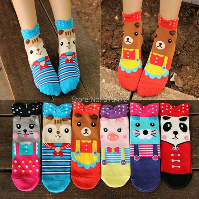 New style double side Harajuku cute animal socks spring and summer South Korean women's cartoon 3D socks