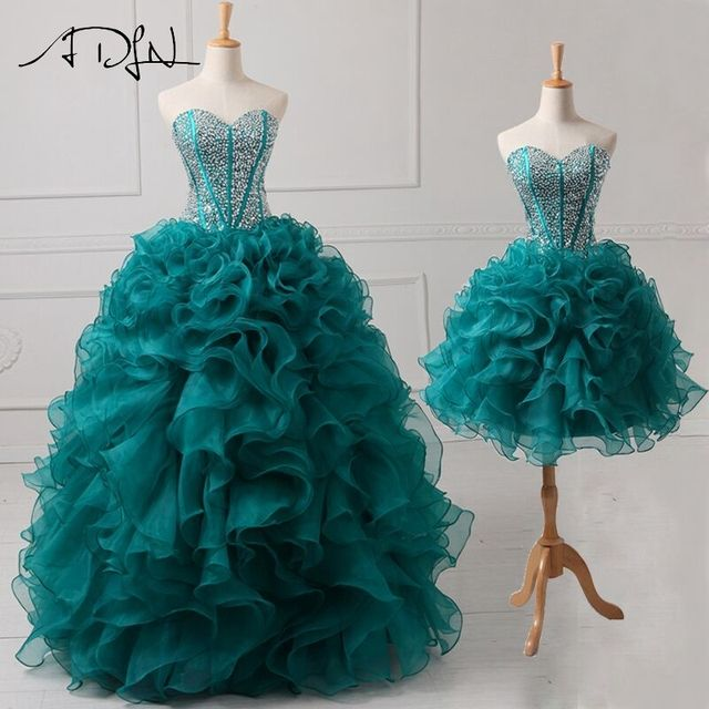 ADLN Beaded Sweetheart Real Sample Quinceanera Dresses 2017 2 in 1 Detachable Sweet 16 Dress Ball Gown Designer Lace Up Back