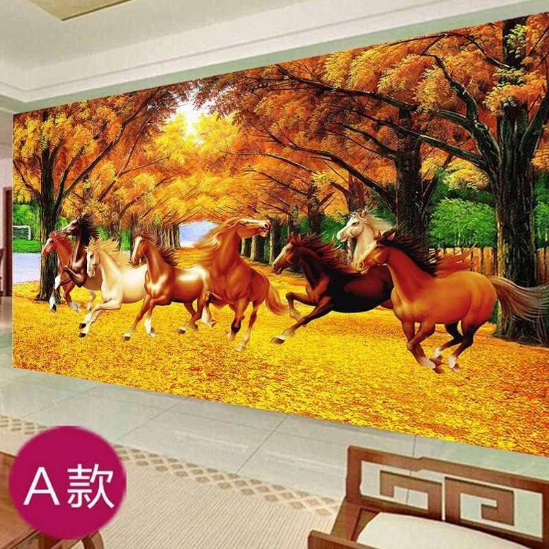 5D DIY  Diamond Painting, Diamond Mosaic, Diamond Embroidery Kit, Eight Horse, Autumn Landscape, Diamond Cross Stitch Set