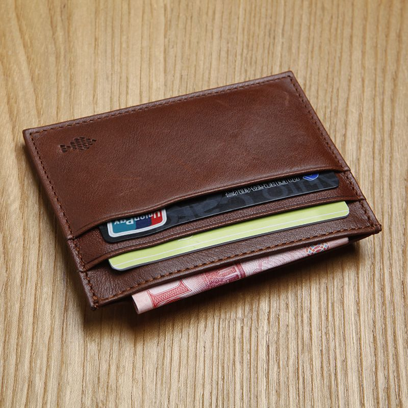 LANSPACE men's leather card id holders brand wallet card holder designer coin purses holders